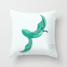 Blue whale with wings Throw Pillow
