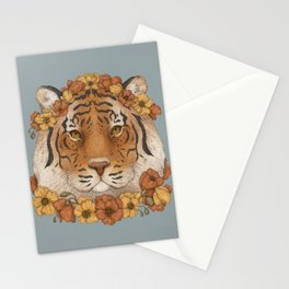 Tiger and Flowers Stationery Cards