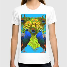 BLUE-GREEN PEACOCKS & LIME FEATHERS ART T-shirt