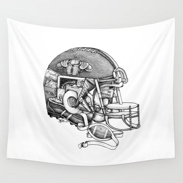 Football Helmet Wall Tapestry