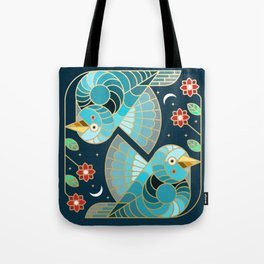 Beautiful Art Deco Midnight Bluebirds And Blossoms Tote Bag