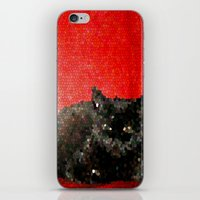 sofa iPhone & iPod Skins featuring cat on red sofa by ANArt