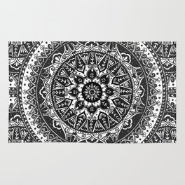 Black and White Mandala Pattern Rug