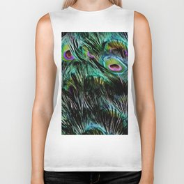 Soft and Fluffy Colorful Peacock Feathers Biker Tank