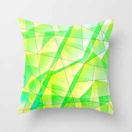 Bright bright fragments of crystals on irregularly shaped green and yellow triangles. Throw Pillow