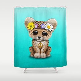 Cute Baby Leopard Cub Hippie Shower Curtain