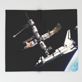 Space Shuttle Space Station Mir Dock Throw Blanket