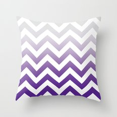 PURPLE FADE TO GREY CHEVRON Throw Pillow