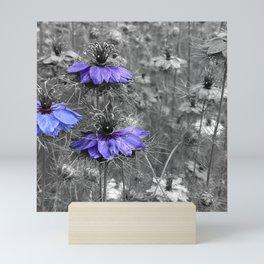 Purple Flowers Color Splash Mini Art Print