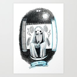 The High Priestess Skeleton Tarot Art Print