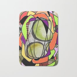Green, orange and purple watercolor digital abstract design Bath Mat