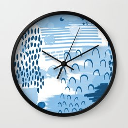 Yesta - abstract painting indigo blue dots mark making canvas painting Wall Clock