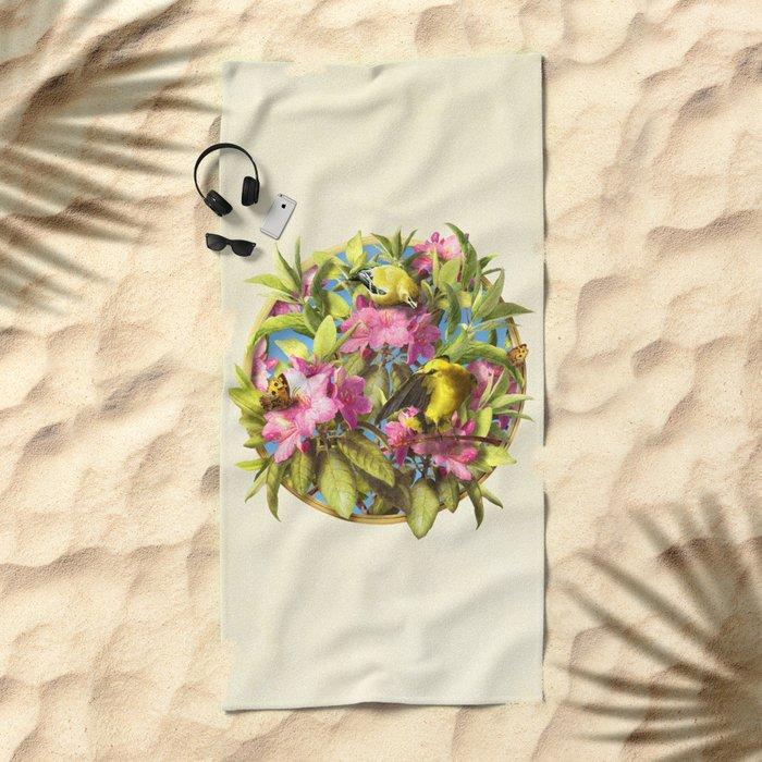 Flowers and Birds 1 Beach Towel
