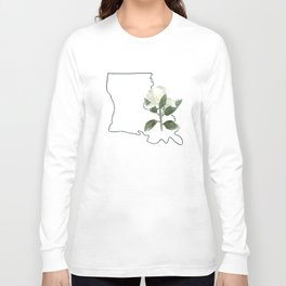 louisiana // watercolor magnolia state flower map Long Sleeve T-shirt