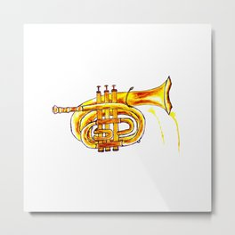 Golden Trumpet on purple Metal Print