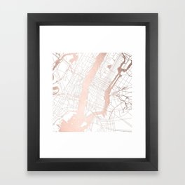 New York City White on Rosegold Street Map Framed Art Print