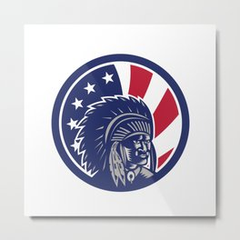 Native American Indian Chief USA Flag Icon Metal Print