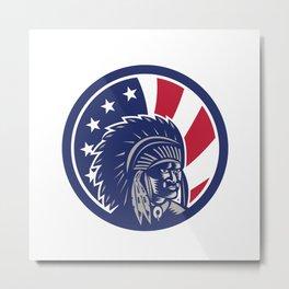 Native American Indian Chief USA Flag Icon Metal Print