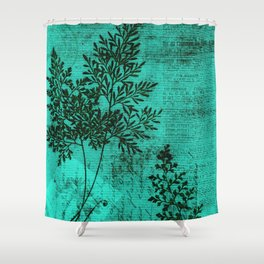 Botanical Turquoise Shower Curtain