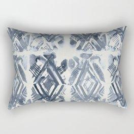 Simply Ikat Ink in Indigo Blue on Lunar Gray Rectangular Pillow