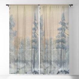 Winter Woods, Luna Smith, Scottish art, oil painting, Luart Gallery Sheer Curtain