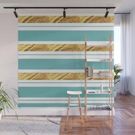 Gold and Aqua Blue Stripes Wall Mural