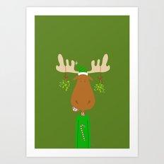 Merry Christmoose - Christmas Mistletoe Moose Art Print
