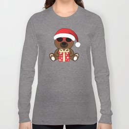 Cool Santa Bear with sunglasses and Christmas gifts pattern Long Sleeve T-shirt