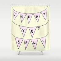 treat yo self Shower Curtains featuring Treat Yo' Self by Scout Garbaczewski