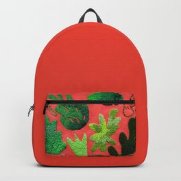 tropical leaves embroidered pattern Backpack