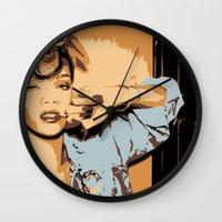 rihanna Wall Clocks featuring Rihanna  by GOLDY