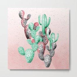 The pink and green cactus garden Metal Print
