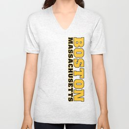 BostonMassachusetts, black and gold vertical  Unisex V-Neck