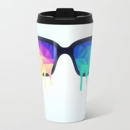 Psychedelic Nerd Glasses with Melting LSD/Trippy Color Triangles Travel Mug