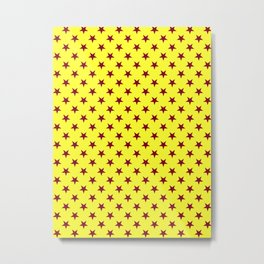 Burgundy Red on Electric Yellow Stars Metal Print