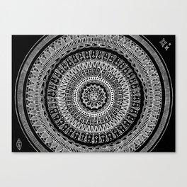 White on Black Mandala Canvas Print