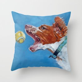Brittany Spaniel Dog Portrait Throw Pillow