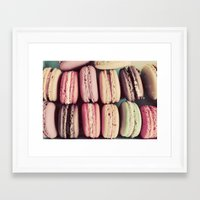 macarons Framed Art Prints featuring Macarons by elle moss