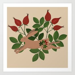 Leaping Brown Hare Folk Art Art Print
