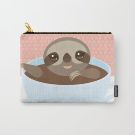 Sloth in a blue cup coffee, tea, Three-toed slot Carry-All Pouch