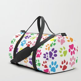 Dog Paws, Trails, Paw-prints - Red Blue Green Duffle Bag