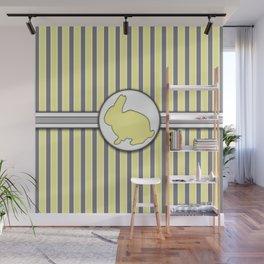 Yellow Rabbit Stripes Pattern Design Wall Mural