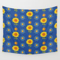 ukraine Wall Tapestries featuring Sunflowers of Ukraine by rusanovska