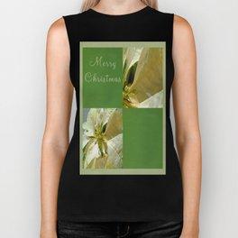 Pale Yellow Poinsettia 1 Merry Christmas Q5F1 Biker Tank