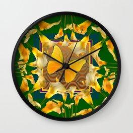 Green Garden Calla Lilies Yellow Butterfly Wall Clock