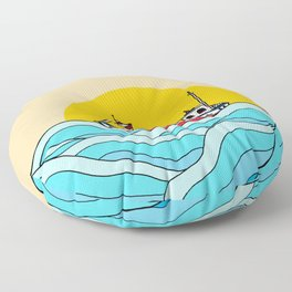 The little fishing boat Floor Pillow