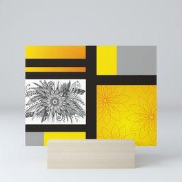 Sunflower Doodle on bright bold background Mini Art Print