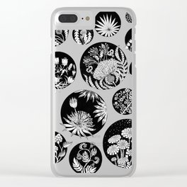 Flowers pattern ink art black and white Clear iPhone Case