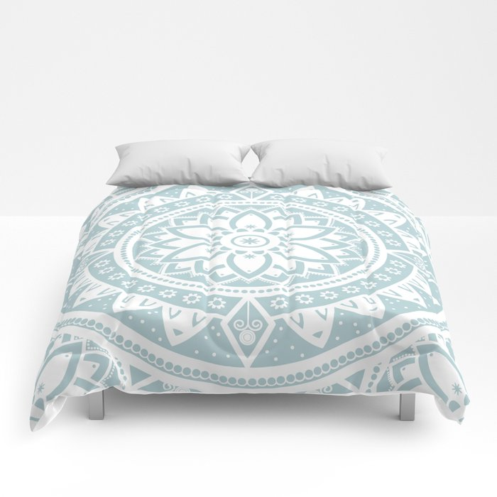 Duck Egg Blue White Patterned Flower Mandala Comforters By