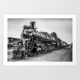 Wichita Union Station Locomotive Train in Black and White Art Print